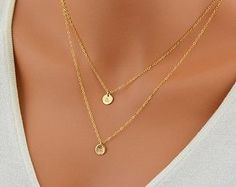Personalized Layering Necklace Set, Initial Disc Necklace, Mother Necklace, Delicate Gold or Silver Necklace, Grandma Necklace by malizbijoux. Explore more products on http://malizbijoux.etsy.com