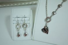 Love Is  Lariat Chain Necklace Earrings Set  Heart by janetpowers1, $22.00