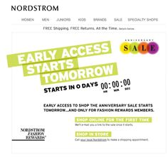 Streaming countdown clock in a Nordstrom email. The sale's over now, but you get the picture.