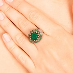The ZerbapAynişah Ring with Zircon Emerald Stones by Rosestyle, $28.50