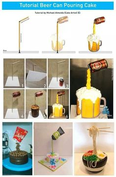 Such amazing cakes Gravity defying cake tutorial Beer Mug Cake, Beer Can Cakes, Beer Cakes Diy, Anti Gravity Cake, Gravity Defying Cake, Cake In A Can, How To Make Cake, Cake Decorating Techniques, Cake Decorating Tutorials