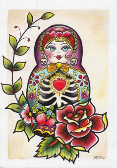 Matryoshka painting by Saranna Blair