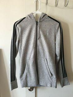 92f2bff46f4 NEW Adidas Grey Fleece Zip-Up Hoodie With 3 Black Stripes Size XS  fashion