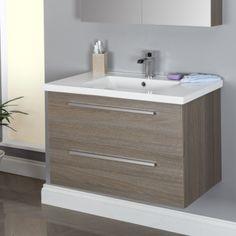 Vasari Wall Hung Vanity Unit & Basin Grey Oak - 800mm Width
