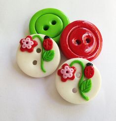 Ladybug flower  set of 4 polymer clay buttons  3/4 by ayarina, $5.95