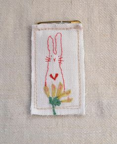 BROOCH : sweet little Bunny  free machine embroidered  Bunny