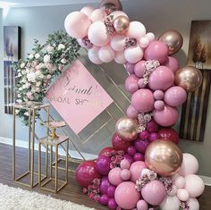 🌸The perfect shades of pink and wildberry for this bridal shower! 🌸 Props and silk flowers Balloons Baby Shower Balloon Decorations, Bridal Shower Balloons, Balloon Backdrop, Balloon Columns, Wedding Balloons, Balloon Garland, Birthday Balloons, Birthday Party Decorations, Wedding Decorations