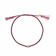 bracciale LUCY oro 18kt, diamante brown, filo di cottone