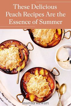 This summer, use up any peaches with one of these delicious recipes to enjoy for breakfast, lunch, dinner, and dessert. The fruit is the perfect sweet side to pork chops or crispy-fried chicken. Or as a fruit dessert for peach slab pie or peach pie crumble bars for a BBQ, pool party, or potluck. #marthastewart #recipes #recipeideas #fruitrecipes #fruit Tart Recipes, Fruit Recipes, Summer Recipes, Peach Pie Recipes, Dessert Recipes, Cooking Recipes, Mini Desserts, Summer Desserts, Easy Desserts