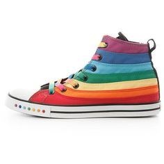 Colorful Rainbow High Top Canvas Sneakers ($60) ❤ liked on Polyvore featuring shoes, sneakers, rainbow sneakers, multicolor sneakers, hi tops, canvas sneakers and multi colored shoes