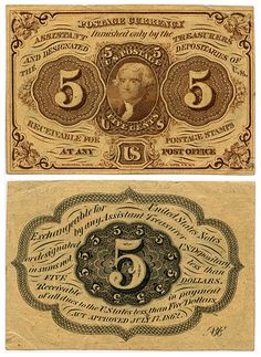 Five-cent US Postal Currency, first issue, featuring Thomas Jefferson. Gold, silver and copper coins were horded at the start of the Civil War and postages stamps became a popular form of currency; however the adhesive back was a serious impediment. On Ju Money Notes, Old Money, Dollar, 5 Cents, World Coins, Rare Coins, Old Paper, Stamp Collecting, Postage Stamps