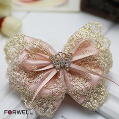 Forwell New girl women hair accessories pink satin golden lace bow hairpin headdress flower butterfly shape rhinestone barrettes