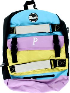 Penny Skateboards Back Pack Pastel Blue, Lilac, and Yellow