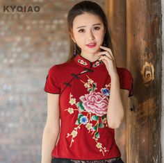 KYQIAO Cheap clothes China style ethnic design mandarin collar dark red white black floral embroidery blouse shirt chi-pao Qipao #Blouse designs