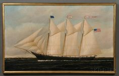 Attributed to William P. Stubbs (American, 1842-1909)      Portrait of the Three-masted Schooner SACHEUS SHERMAN   in Coastal Waters.