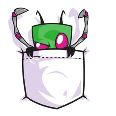 Pocket Zim /// This is the cutest thing ever :D Just imagine Zim hanging out in your pocket poking people with his PAK legs as they walk by