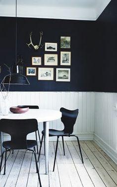 half white siding, dark color walls. #interiors #design #home #blackandwhite