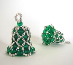 Bell Beaded Ornament: Christmas Green with Silver Beads. via Etsy.