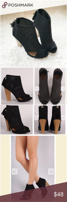 """⭐️LAST ONES!⭐️NIB Black Caged/Cut-out Booties NIB Black Cut-Out Ankle Booties. These versatile booties feature a perforated vegan suede with side cut-outs, peep toe, and a chunky stacked heel. Tassel pull on a gold back-zip closure at the heel. Lightly padded insole, approx 4"""" heel. FITS TRUE TO SIZE. Available in 5.5, 6, 6.5, 7, 7.5, 8, 8.5, 9, 10. 🚫No Trades and No Paypal🚫Price is firm unless bundled, also available in taupe color, see my closet for taupe listing. Will not be restocked…"""