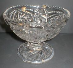 This is a pretty Whirling Star or Pinwheel and Star Footed Jelly Compote or candy bowl in excellent condition with no chips or cracks. I do believe this is the Whirling Star pattern made by US Glass in their artcut line