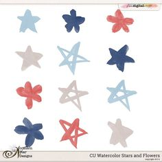 CU Watercolor Watercolor Stars and Flowers by Northern Star Designs  @Plaindigitalwrapper