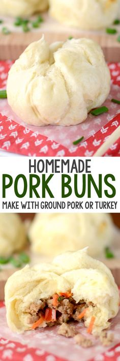 Homemade Pork Buns are better than takeout! This EASY recipe makes your favorite Chinese food at home using ground turkey or pork. We love these!