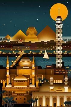 Cairo, Egypt - Retro Skyline - Lantern Press Artwork (Art Print Available) Poster City, Poster Wall, Photo Vintage, Vintage Ski, Photo Images, Skyline Art, Egypt Travel, Cairo Egypt, Vintage Travel Posters