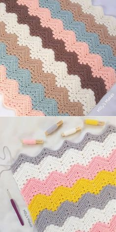 As you may know, I love exploring new ideas in crochet, so I'm not constricting myself to any rules! Punto Zig Zag Crochet, Zig Zag Crochet Pattern, Manta Crochet, Crochet Bedspread Pattern, Crochet Ripple Blanket, Crochet Baby Blanket Free Pattern, Kids Blankets, Popular Crochet, Top Top