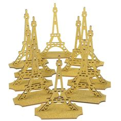 Wooden Eiffel Tower with Glitter, 5-inch, 10-count