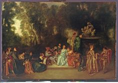Jean-Antoine Watteau - Party in the Open Air French Rococo, Rococo Style, National Gallery Of Art, Jean Antoine Watteau, Berlin, French Paintings, Art Rules, Social Art, Museum