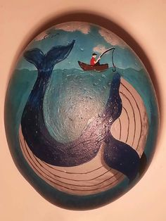 Painted rock. I painted this whale for my father