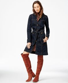 Free People Belted Denim Trench Coat