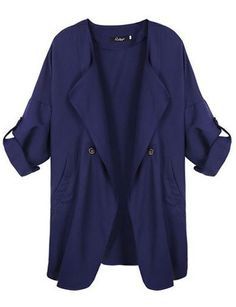 #fashion #accessories Oversize Fall Jacket Long Trench Coat in Loose Fit   Royal Blue by Moda Tendone - Trenchcoat Clothes, Fashionable, Royal Blue, Trenchcoat, Women