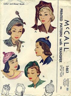 McCall 1463 - Gorgeous 1940s BERET HATS