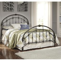 Signature Design by Ashley Nashburg King Arched Metal Bed in Bronze Color Finish