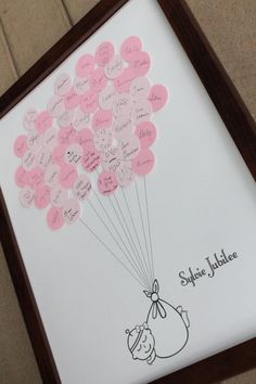 A unique way to remember those who came to the baby shower. This baby shower guest book is printed on heavy acid free paper using archival inks. The dot balloons that your guests sign are acid free dots. Idee Baby Shower, Shower Bebe, Girl Shower, Baby Shower Games, Fiesta Shower, Shower Party, Baby Shower Parties, Shower Gifts, Baby Showers