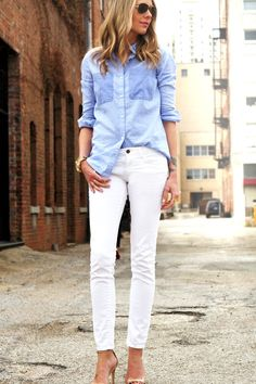 Blue  White Button-Up Shirt // White Skinny Jeans