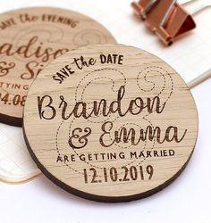 Wooden Save The Date Magnet Rustic Save the Date Rustic Engraving Ideas, Rustic Save The Dates, Save The Date Magnets, Bamboo Cutting Board, Laser Cutting, Woodworking Plans, Wedding Decorations, Dating, Personalized Items