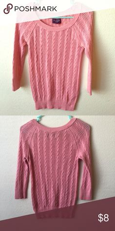 American eagle sweater 💕 I am selling this American eagle sweater. It's a light pink color with 3 quarter length sleeves. It's so soft and comfortable to wear. It's beautiful for the holidays. 🍂🍁 ask me anything else you'd like to know about it. Sweaters