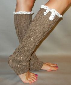 Taupe Knit Leg Warmer with Lace and Button Trim