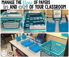 The Primary Peach: Easiest Classroom Mailboxes Ever. Organizing the flow of papers in the classroom. In box, put tiered stand in book case for papers that need to be returned. Classroom Mailboxes, Classroom Layout, 5th Grade Classroom, Middle School Classroom, Classroom Organisation, New Classroom, Teacher Organization, Classroom Design, Kindergarten Classroom