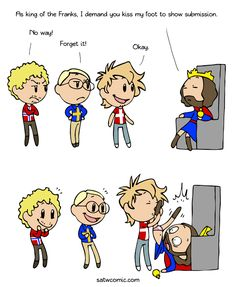 Webcomic: Thanks to Sankt_Aslaug who sent me this quote: Dudo of St. Quentin records an encounter between a party of Danes and King Charles Satw Comic, Funny Memes, Hilarious, Jokes, Best Kisses, Cartoon Shows, Funny Comics, Hetalia, Comic Strips