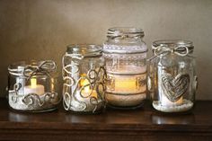 Retro-Chic Twine and Glass Candle Holders. tutorial