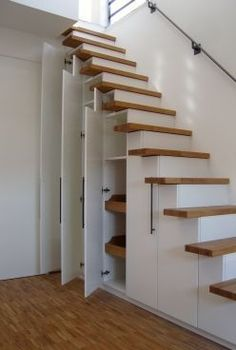 30 Under Stair Shelves and Storage Space Ideas We'll shows you ways to use the space under your stairs as a place for storage. diy closet 10 Under Stair Storage Ideas that Make Your House Look Stunning Stair Shelves, Staircase Storage, Attic Stairs, House Stairs, Staircase Design, Stairs To Loft, Stairs To Basement, Storage Under Stairs, Basement Closet