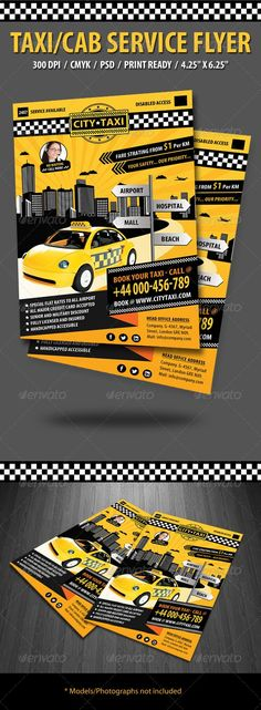 Buy Taxi/Cab Flyer by anshi on GraphicRiver. Specifications: Dimensions: by in size with bleeds Resolution: 300 dpi CMYK / ready for print Editable fo. Flyer Layout, Brochure Layout, Beach Cars, Business Flyer Templates, Corporate Brochure, Print Templates, Model Photos, Flyer Design, Print Design