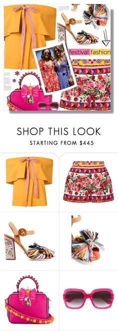 """""""#festivalfashion"""" by prigaut ❤ liked on Polyvore featuring Rosie Assoulin, Dolce&Gabbana, Gucci and festivalfashion"""