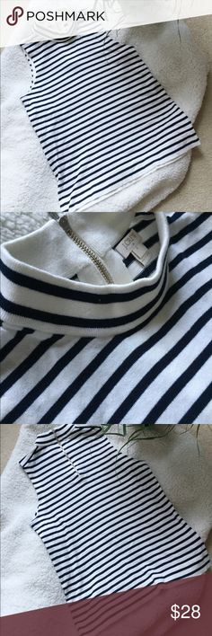 [J Crew] Striped Mock Turtle Neck Tank Top Very cute mock neck turtle neck tank top with zipper on the back. To me this looks like back and white but it could be navy blue and white, hard to tell which one it is!  Great fit and good condition!  Size small J. Crew Tops Tank Tops