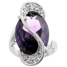 <br><li><a href='http://www.overstock.com/downloads/pdf/2010_RingSizing.pdf'> <span class=links>Click here for Ring Sizing Chart</span></a><li>Eye-catching cocktail ring<li>Majestic oval-cut purple cubic zirconia