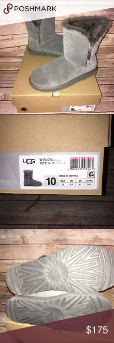 UGG Soft Gray Short Boots w/silver Zippers SO adorable! Beautiful soft gray shade with silver zipper detail. Excellent condition, only worn a few times. Received as a Christmas gift but prefer the classic tall style. 100% authentic, ships in original box. Check out my other listings to bundle and save 25% ! UGG Shoes Winter & Rain Boots