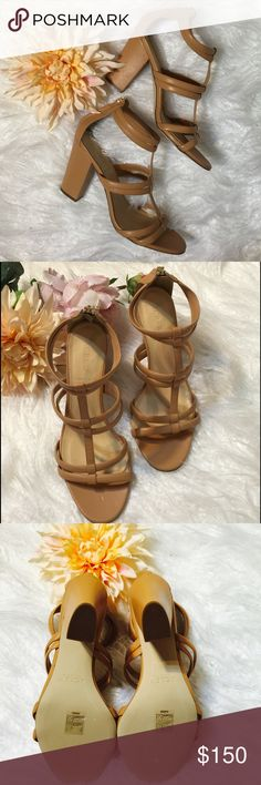 "J.Crew Nude Strappy Sandals An outfit pretty much always calls for strappy sandals. Especially when they're made in Italy. Leather upper and lining. Padded sole. Heel height: 4"". NWOT J. Crew Shoes Heels"